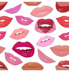 Glamour lips pattern with different lipstick vector image