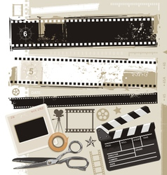 grungy film and movie design elements vector image vector image