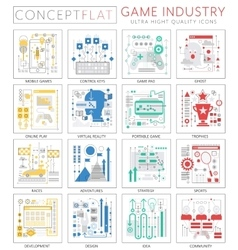 Infographics mini concept Game industry icons for vector image vector image