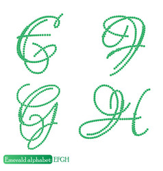 jewelry alphabet from emerald stones vector image vector image