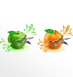 Juice squirting out of shuriken cut fruit vector