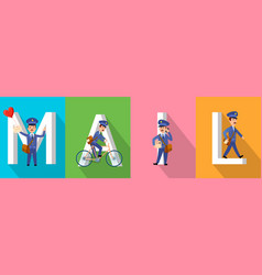mail banner with letters and postman character set vector image vector image