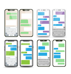 Mobile screen messaging set chat bot vector