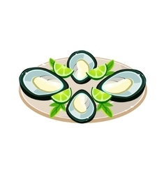 Mussels with lime on a dish vector