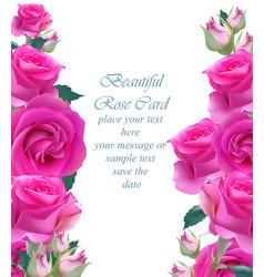 Pink roses card vertical delicate summer vector