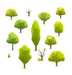 polygon trees set vector image vector image