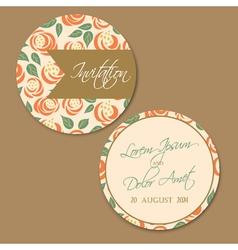 round wedding vintage invitation card vector image vector image