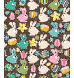 Seamless pattern with easter rabbits and spring vector image