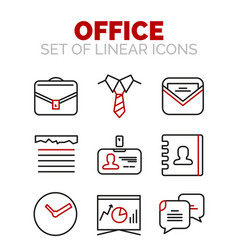 set of office or business icons vector image