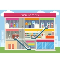 Shopping Center Buiding Design vector image