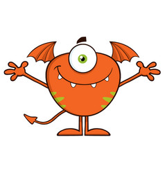 smiling cute monster cartoon character vector image vector image