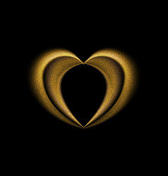 Smooth blurred golden heart background vector
