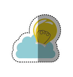 Sticker cloud in cumulus shape with light bulb vector