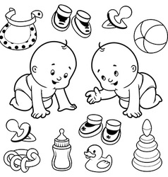 Two toddler in diapers with baby items vector