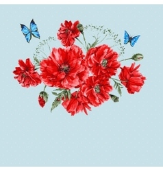 Watercolor Vintage Card with Red Poppies Bouquet vector image vector image