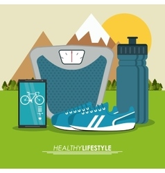 Weight smartphone shoes icon healthy lifestyle vector