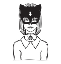 Beautiful cat woman with the carnival mask gothic vector