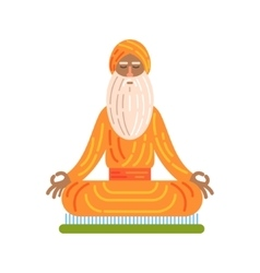 Yogi sitting on board with nails in lotus pose vector