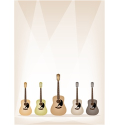Five earth tone guitars on brown stage background vector