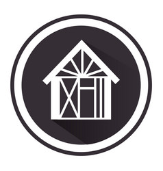Monochrome circle pictogram with house vector