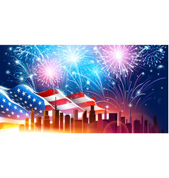 City with fireworks vector