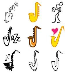 logo icons saxophon vector image