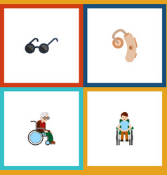 Flat icon handicapped set of audiology wheelchair vector