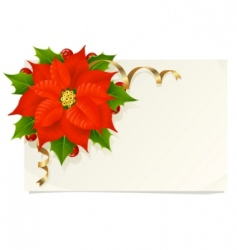 Christmas card with poinsettia vector image