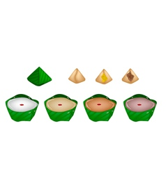 Set of stuffed dough pyramid dessert vector