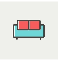Furniture sofa thin line icon vector