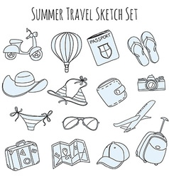 Summer vacation sketch doodle set vector