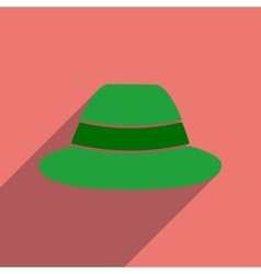 Flat icon with long shadow hat hipster vector image