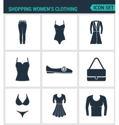 Set of modern icons shopping women s vector