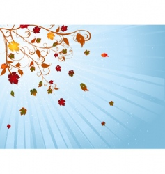 autumn tree and winter sky vector image vector image