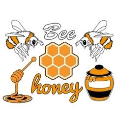 Bee honey set vector