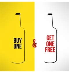 Beer bottle promotional design buy one get vector
