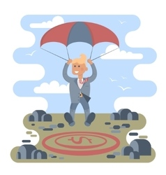 Businessman with parachute vector