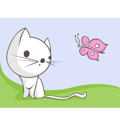 cat with butterfly vector image vector image