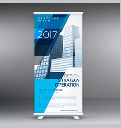creative blue and white roll up banner design for vector image