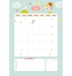 Cute calendar diary 2016 with seasonal themes vector image