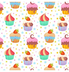 Cute colorful seamless pattern with muffins vector image vector image