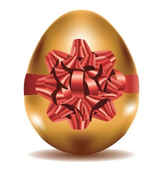 Golden Egg with Bow vector image