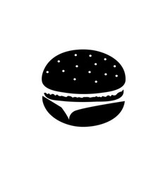 hamburger black and white icon vector image vector image