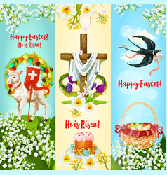 Happy easter he is risen festive banner set vector