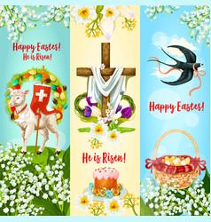 happy easter he is risen festive banner set vector image