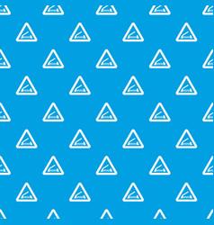 lifting bridge warning sign pattern seamless blue vector image vector image