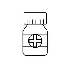 Line bottle pills to medical treatment vector