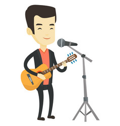 Man singing in microphone and playing guitar vector