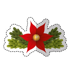 merry christmas floral decorative card vector image vector image