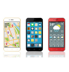 Mobile phones with widgets and icons vector